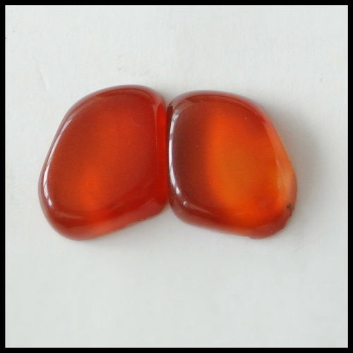 Natural Red Agate Gemstone Cabochon Pair 14x13x4mm,3.08g - MyGemGarden