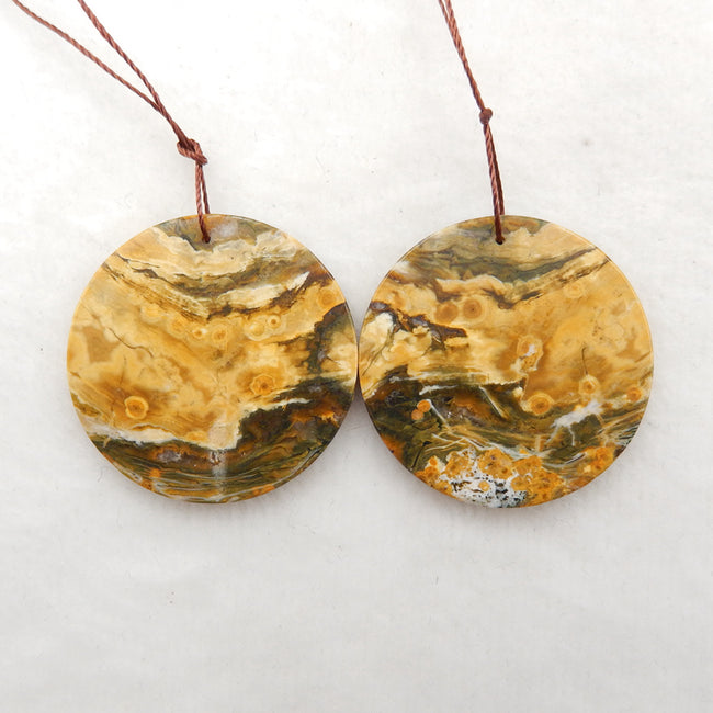 Round Ocean Jasper Earrings stone pair to make Earrings, 35x2.5mm, 11.8g
