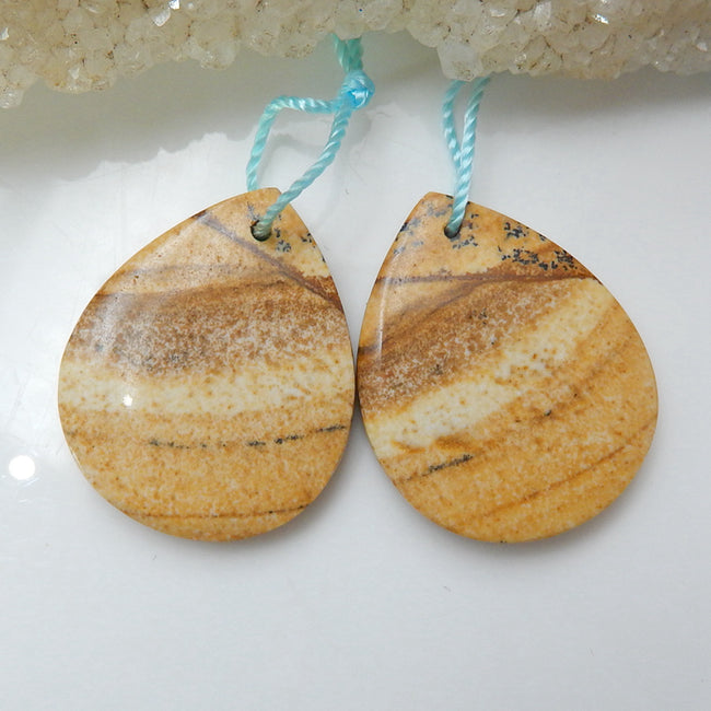 Natural Picture Jasper Teardrop Earrings Pair, stone for Earrings making, 25x20x4mm, 6.55g - MyGemGarden