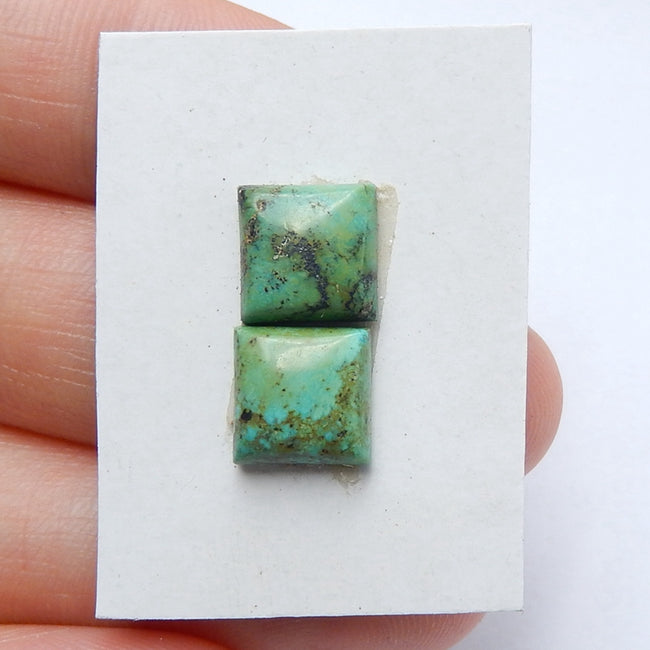 Natural Turquoise Square Gemstone Cabochon Pair, 8x4mm, 1.34g - MyGemGarden