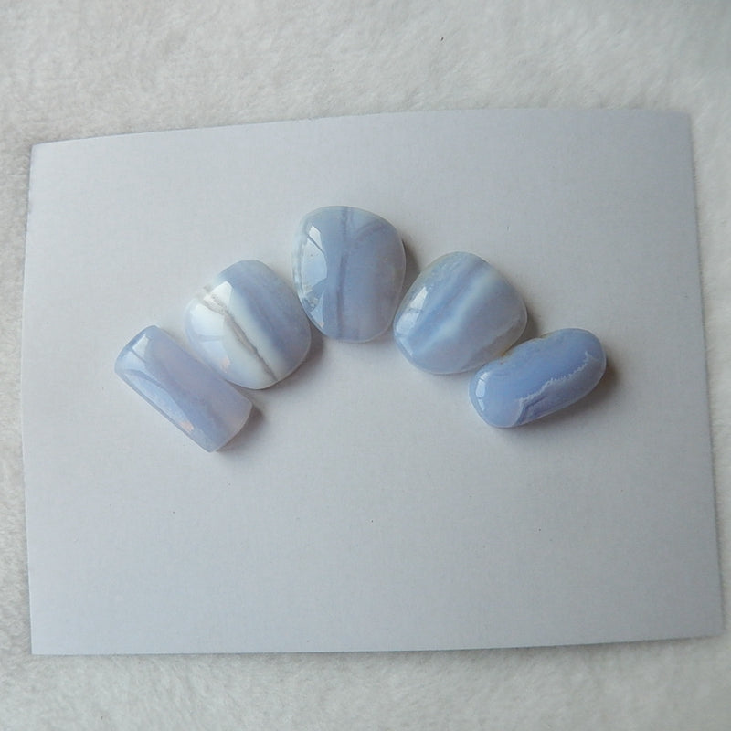 5pcs Blue Lace Agate Cabochon Pairs 19x15x6mm,19x10x5mm,11.1g - MyGemGarden