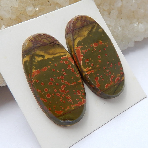 Natural Multi-Color Picasso jasper Oval Gemstone Cabochon Pair, 30x15x4mm, 7.45g - MyGemGarden