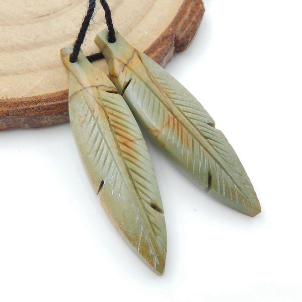 Hand Carved Multicolor Picasso Jasper carved Feather Shaped Earrings Stone Pair, 36x9x4mm, 3.8g - MyGemGarden