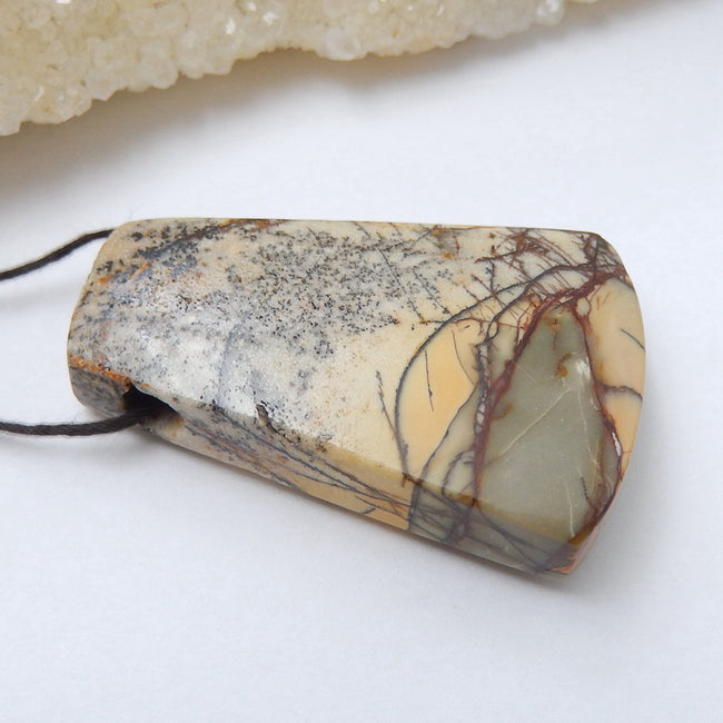 Natural Multi-Color Picasso jasper Drilled Pendant Bead, 41x28x11mm, 17.7g - MyGemGarden