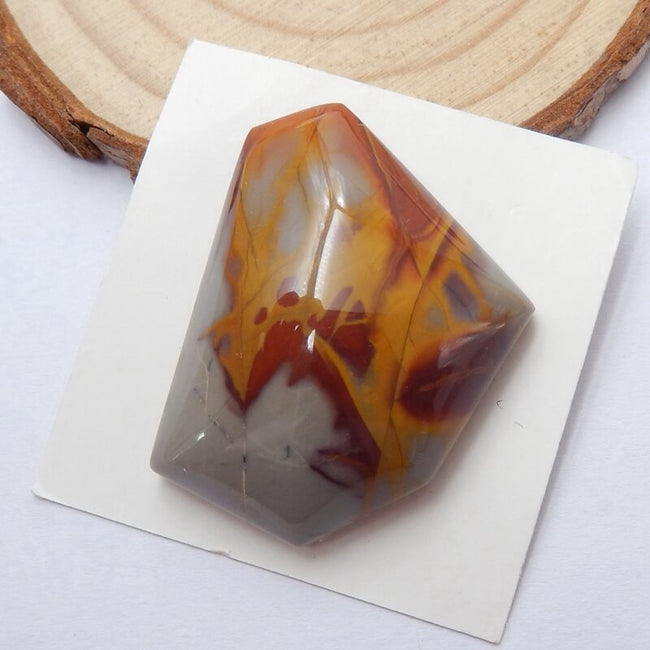 Natural fire picture jasper Gemstone Cabochon, 32x26x11mm, 13.63g - MyGemGarden