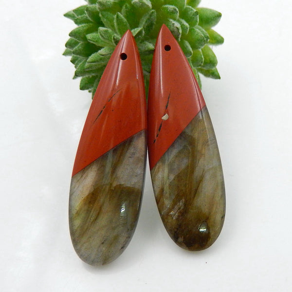 Labradorite and Red River Jasper Teardrop Glued Earrings Stone Pair, 42x13x5mm, 8.8g - MyGemGarden