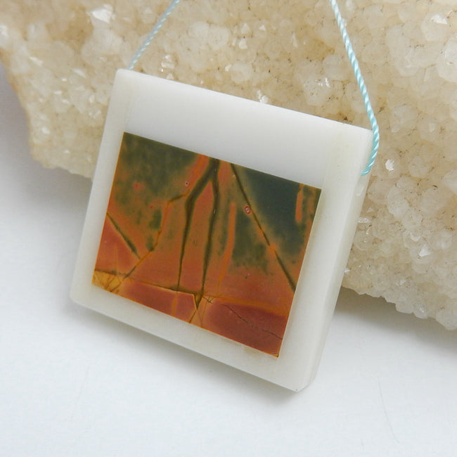 Natural White marble And Multi-Color Picasso jasper Drilled Rectangle Glued Pendant Bead, 33x36x6mm, 19.4g - MyGemGarden