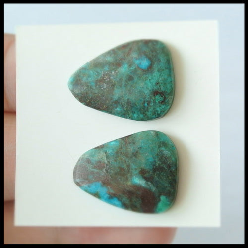 Natural Chrysocolla Gemstone Cabochon Pair, 20x16x4mm, 3.8g - MyGemGarden