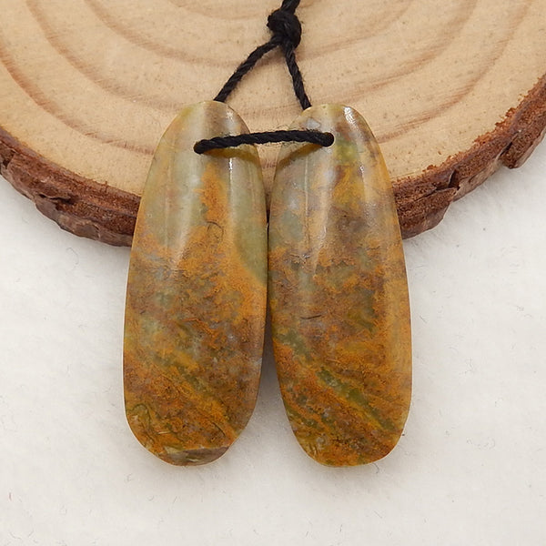 Natural Yellow Opal Earrings Stone Pair, stone for earrings making, 29x11x4mm, 4.0g