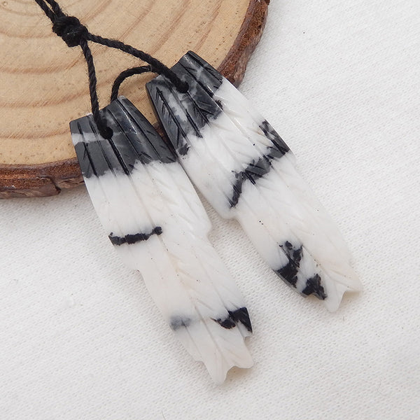 White Zabra Jasper Carved Feather shaped Earrings Stone Pair, 37x12x3mm, 5.6g