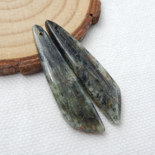 Green Kyanite Earrings Stone Pair, stone for earrings making, 38x9x4mm, 6.7g - MyGemGarden