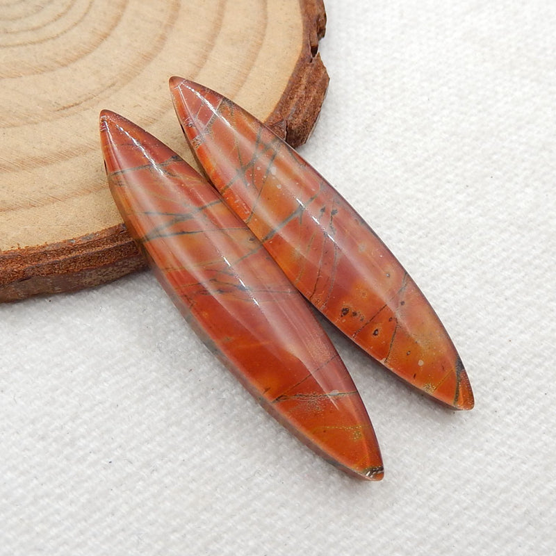 Multicolor Picasso Jasper and White Quartz Glued Gemstone Earrings Stone Pair, 42x9x5mm, 6.9g - MyGemGarden