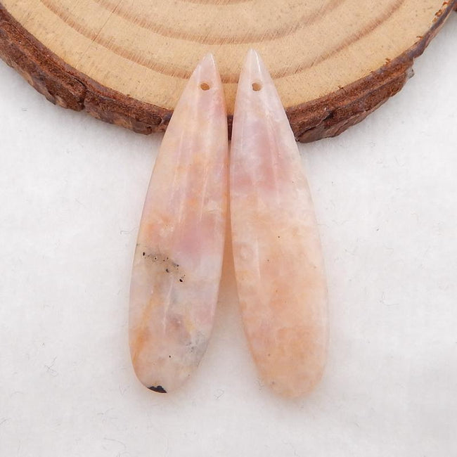 Pink Tourmaline Teardrop Earrings Stone Pair, stone for earrings making, 36x9x5mm, 4.9g