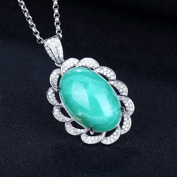 Fashion Chrysoprase Gemstone Jewelry Pendant, 23x15x8mm, 7.9g - MyGemGarden
