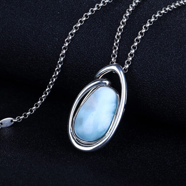 Fashion Oval Larimar Gemstone Silver Jewelry Pendant, 31x17x7mm, 6.5g - MyGemGarden