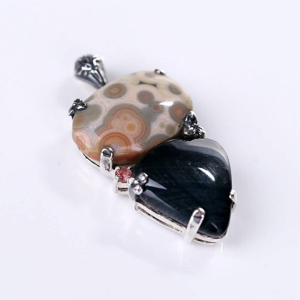 Ocean Jasper and Tiger's Eye Pendant in  925 Sterling Silver, 36x22x5mm, 13.6g - MyGemGarden