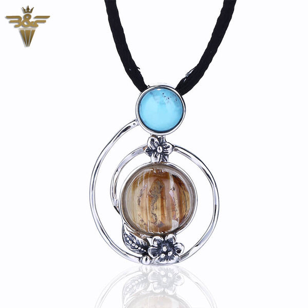 Natural Clear Gold Rutilated Quartz And Turquoise Silver Pendant, 26x18x6mm, 3.57g - MyGemGarden