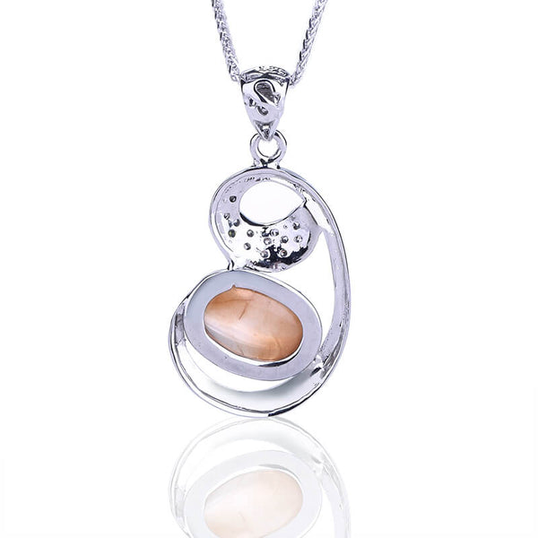 Natural Sunstone 925 Sterling Silver Pendant Best Birthday Gift, 26x18x6mm, 4.52g - MyGemGarden