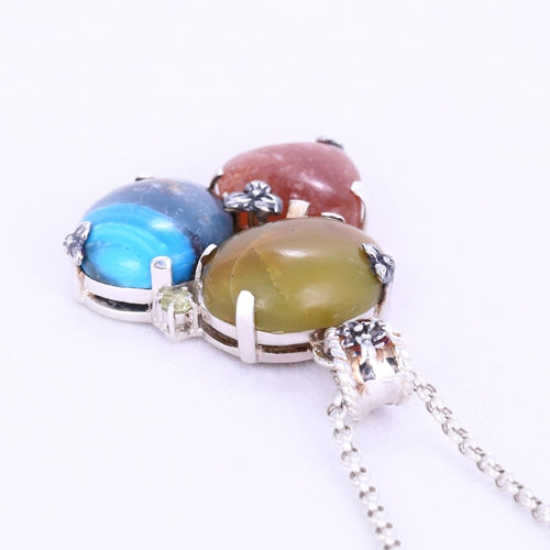 Yellow Opal, Sunstone and Blue Opal Gemstones in 925 Sterling Silver Pendant Gorgeous Pendant, 27x26x8mm, 11.89g - MyGemGarden