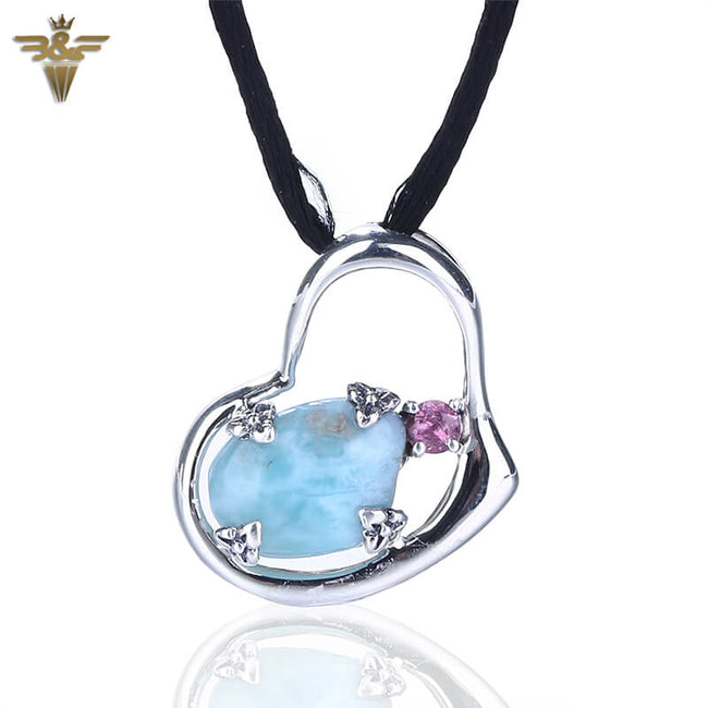 Natural gemstone Larimar in Heart Shape Silver Pendant, 21x16x5mm, 2.51g - MyGemGarden