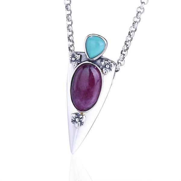Natural AAA Ruby and Turquoise 925 Sterling Silver Necklace, 31x12x7mm, 3.37g - MyGemGarden
