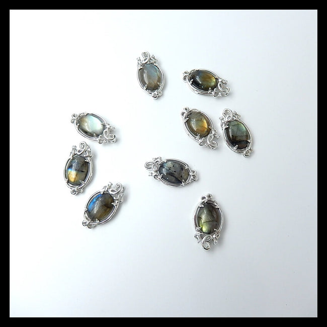 Wholesale 1 pc Quality Labradorite Pendant bead with 925 Sterling Silver, 25x13x6mm, 2.8g - MyGemGarden