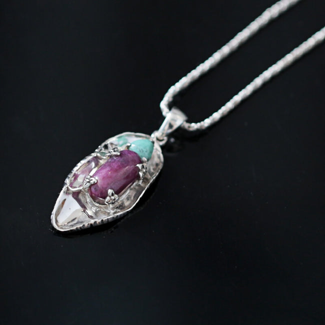 Natural Turquoise and Ruby 925 Sterling Silver Pendant, 29x12x6mm, 3.5g - MyGemGarden