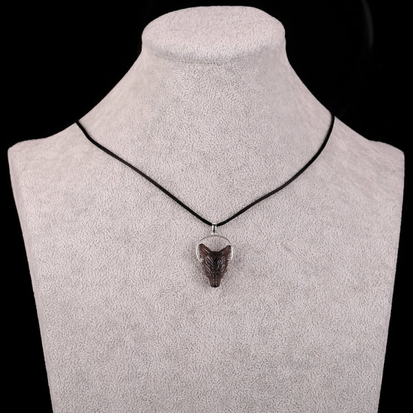 Natural Smoky Quartz Handcarved Wolf Head Silver Pendant, 25x18x9mm, 6.0g - MyGemGarden