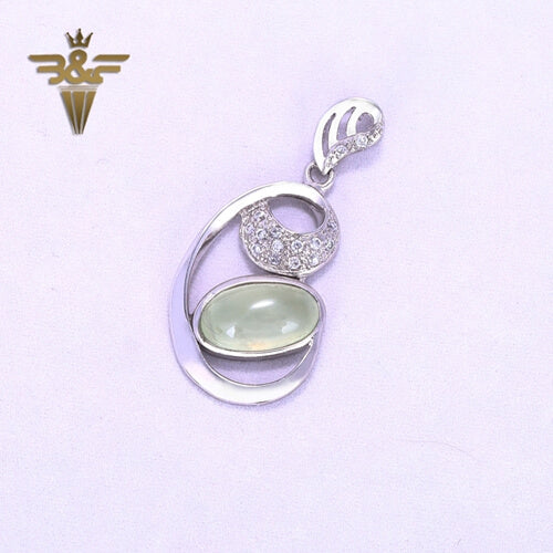 Natural Prehnite 925 Sterling Silver Lucky Jewelry Pendant, 38x19x7mm, 4.2g - MyGemGarden