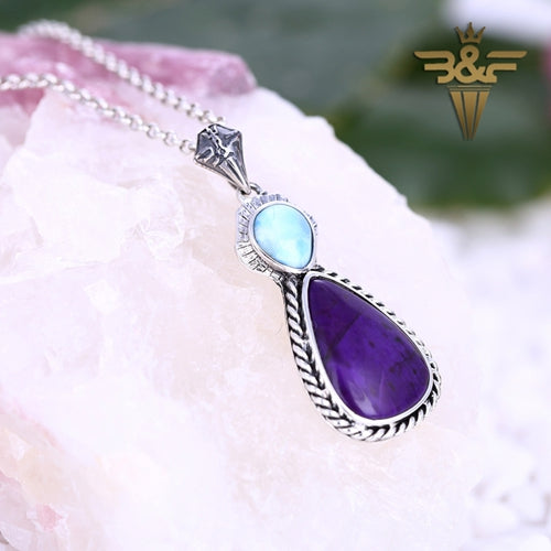 Natural Purple Stone and Larimar in 925 Sterling Silver Pendant Lucky Jewelry, 33x15x4mm, 7.04g - MyGemGarden