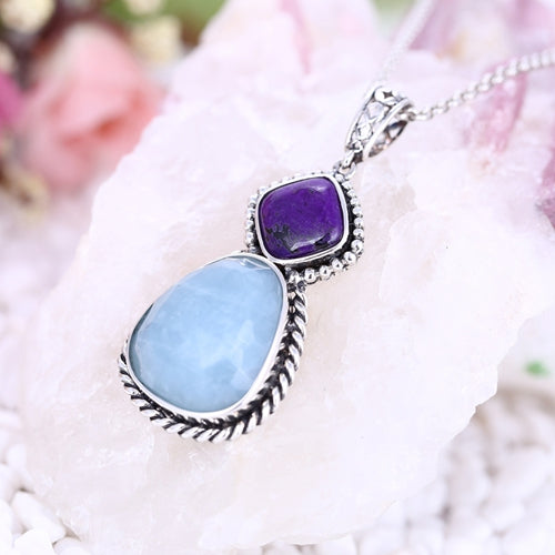 Natural Purple Stone and Blue Aquamarine Silver Pendant, 39x20x8mm, 12.11g - MyGemGarden