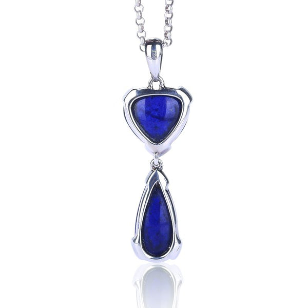 Natural Stone Lapis Lazuli Heart Shape Link Water Drop Shape Silver Pendant, 43x14x7mm, 5.8g - MyGemGarden