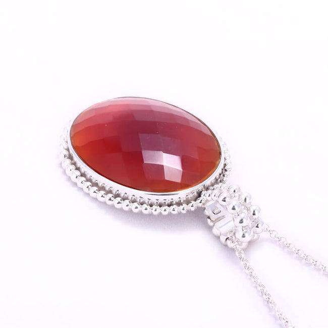 Oval Faceted Red Agate 925 Sterling Silver Pendant, 41x32x9mm, 23.28g - MyGemGarden