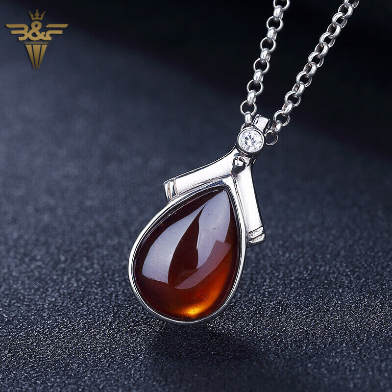 Natural Stone Garnet Handmade Water Drop Shape 925 sterling silver Pendant, 26x13x5mm, 3.88g - MyGemGarden