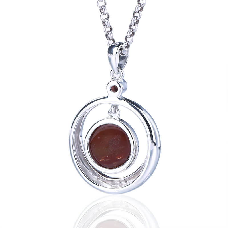 Natural Fossil Wood Handmade Round 925 sterling silver Pendant, 22x19x5mm, 4.1g - MyGemGarden