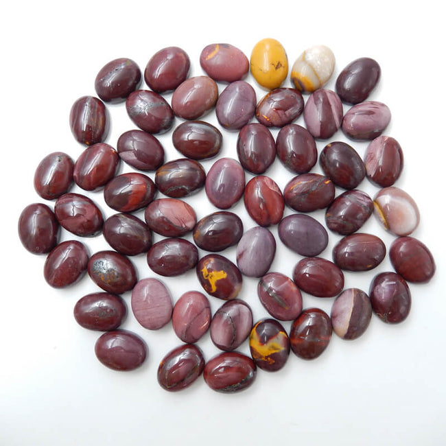 1 Piece Oval Gemstone Cabochon, Amethyst, Obsidian, Tiger's Eye, Red Tiger's Eye, Red Agate, Serpentine and Mookaite, about 20x15x7mm, 3-4g - MyGemGarden