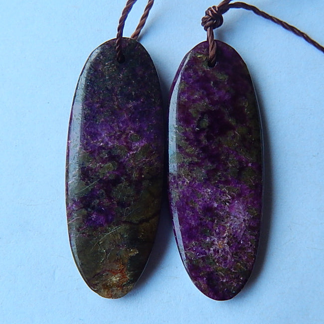 Natural Tourmaline Stone  Earrings Pair Pairs 29x11x3mm,3.1g - MyGemGarden