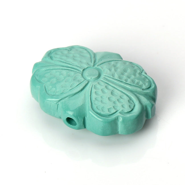 Turquoise Carved Flower Gemstone Pendant Stone, 20x15x7mm, 2.9g
