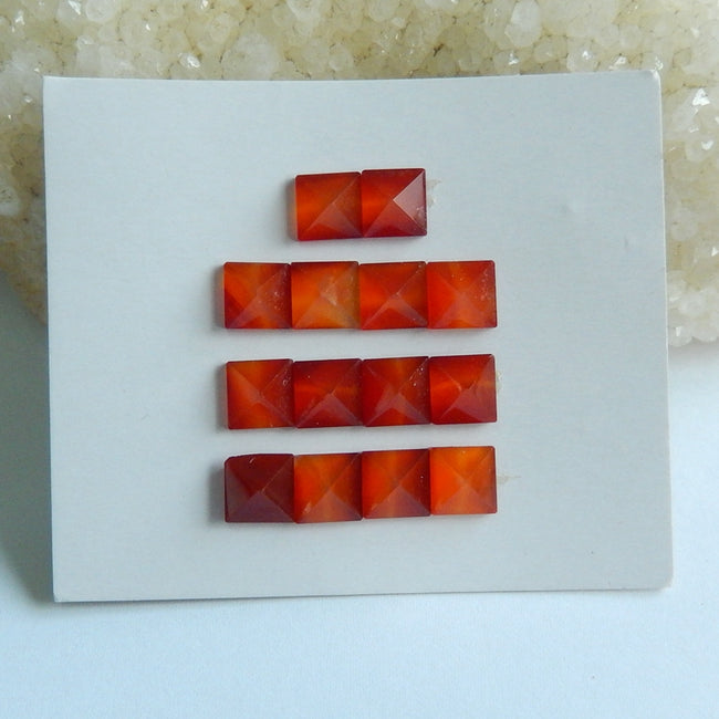 14 pcs Red Agate Gemstone Cabochons, 7x4mm, 4.55g - MyGemGarden