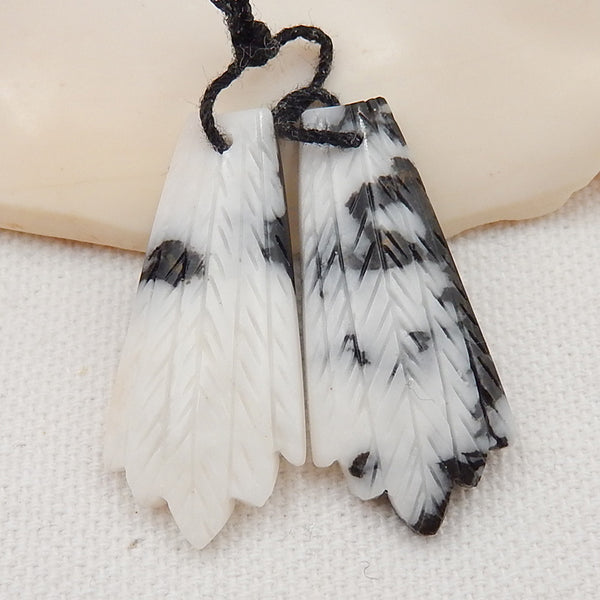 White Zabra Jasper Carved Feather Shaped Earrings Stone Pair, 35x16x4mm, 6.9g - MyGemGarden