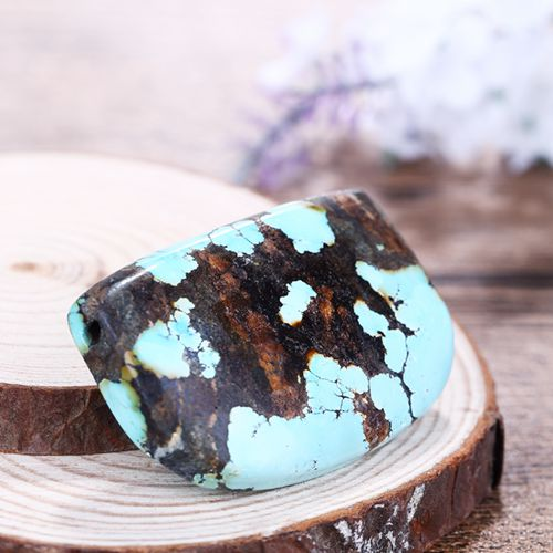 Beautiful Turquoise Gemstone Jewelry Drilled Pendant 49x32x11mm38.4g - MyGemGarden