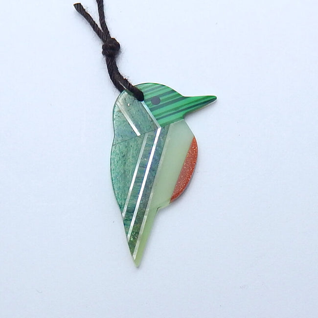 Aventurine, Red Gold Stone, Nephrite Jade, Shell and Malachite Glued Bird Shape Pendant Bead, 30x17x2mm, 1.4g - MyGemGarden