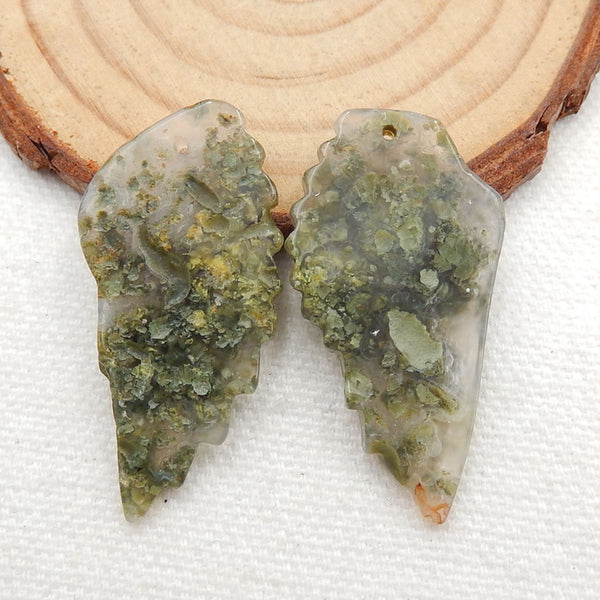 Carved Ocean Jasper Wings Earrings, Handmade Gemstone Wings Dangle Earrings, 38x18x4mm, 7.8g - MyGemGarden