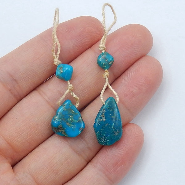 Natural Turquoise Gemstone Earrings Pair, 17x10x4mm,6x4mm, 2.5g - MyGemGarden