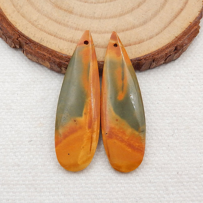 Multicolor Picasso Jasper Gemstone Earrings Stone Pair, 35x11x3mm, 4.0g - MyGemGarden