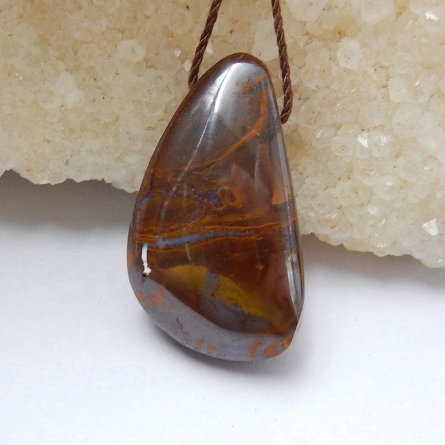 Natural Boulder opal Drilled Gemstone Pendant Bead, 45x20x8mm, 12g - MyGemGarden