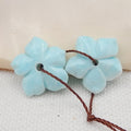 Larimar Flower Earrings Stone Pair, stone for earrings making, 15x15x3mm, 2.1g - MyGemGarden