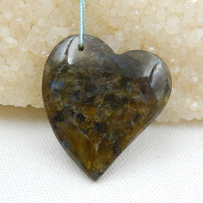 Natural labradorite Drilled Heart Pendant Bead, 41x39x9mm, 19.6g - MyGemGarden