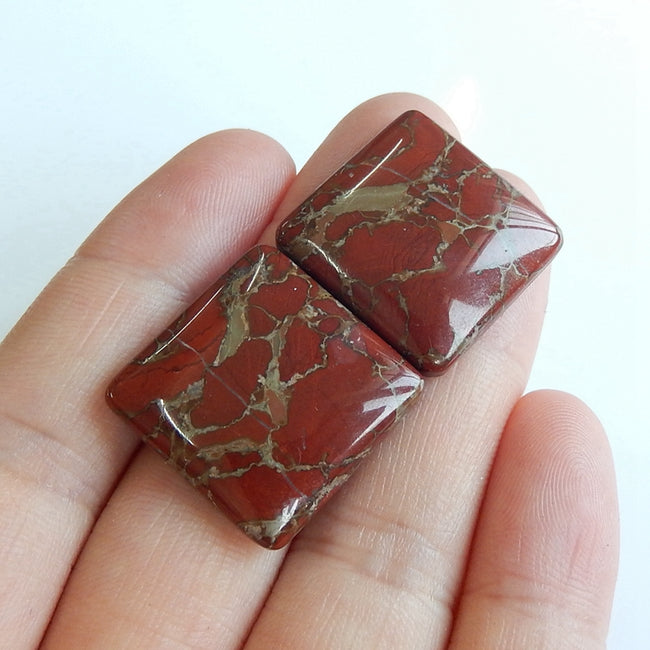 Natural Dinosaur Jasper Square Gemstone Cabochon Pair, 20x5mm, 8.2g - MyGemGarden