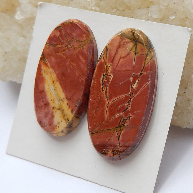 2 Pcs Natural Multi-Color Picasso jasper Oval Gemstone Cabochon, 30x15x3mm, 28x15x3mm,6g - MyGemGarden
